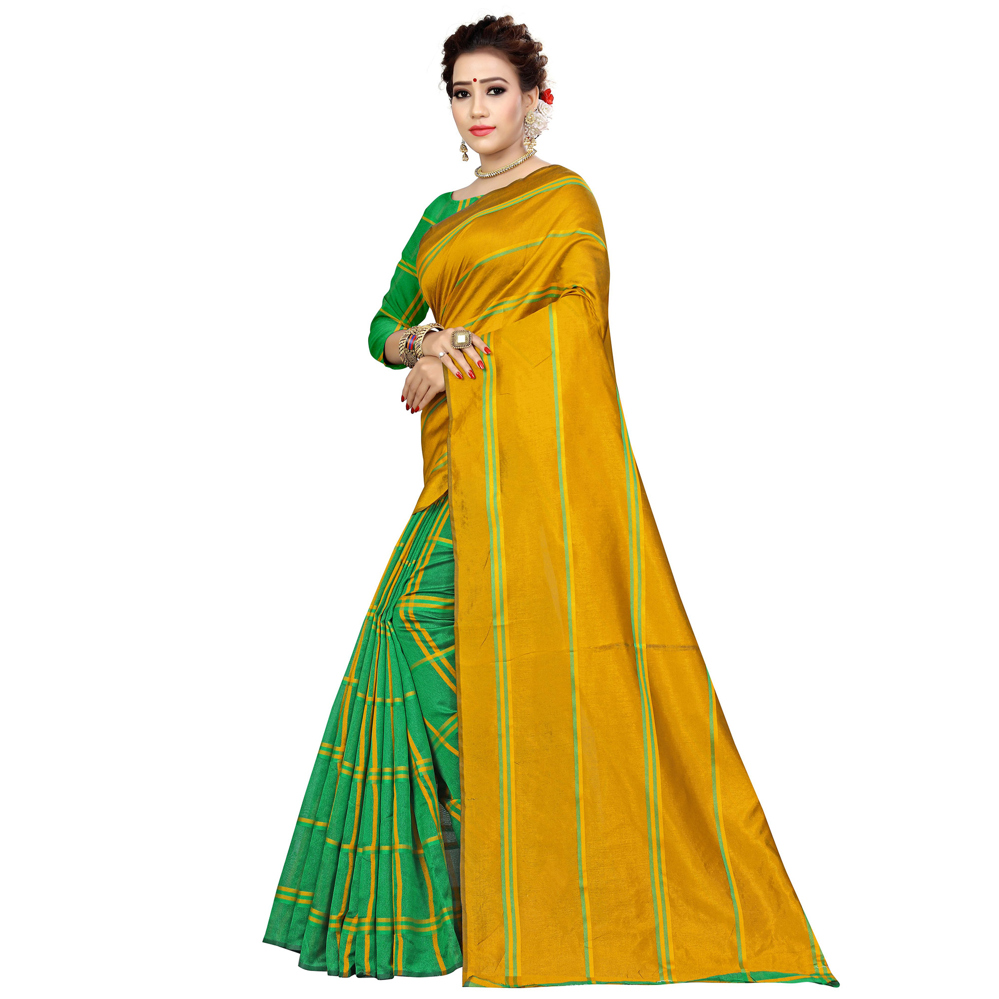 Excellent Mustard Yellow-Green Colored Casual Printed Cotton Silk Saree