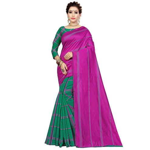 Preferable Green-Magenta Pink Colored Casual Printed Cotton Silk Saree