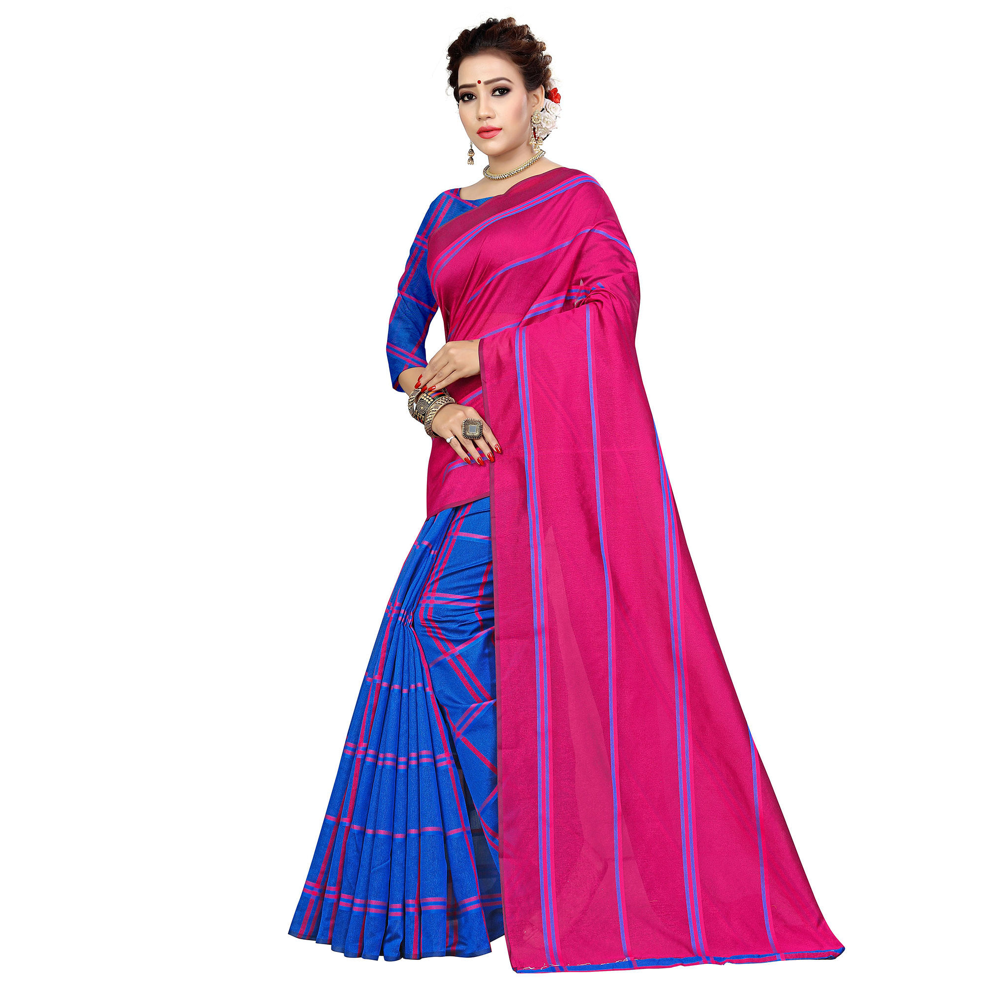 Marvellous Pink-Blue Colored Casual Printed Cotton Silk Saree