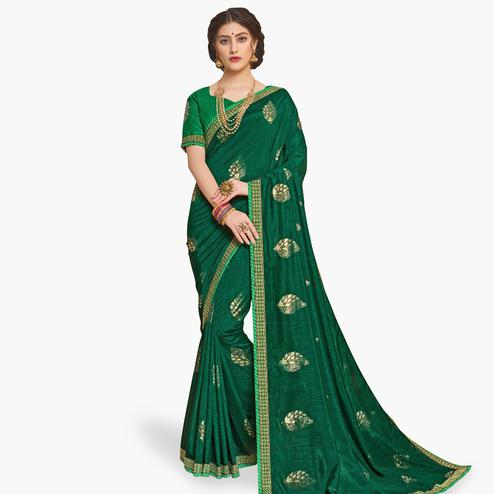 Opulent Green Colored Partywear Embroidered Art Silk Saree