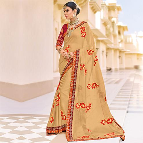 Beige Floral Embroidered Work Party Wear Chiffon Saree
