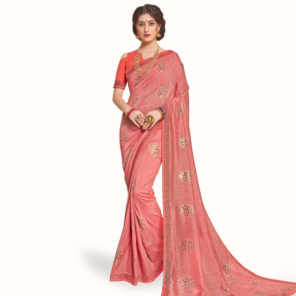 Energetic Peach Colored Partywear Embroidered Art Silk Saree