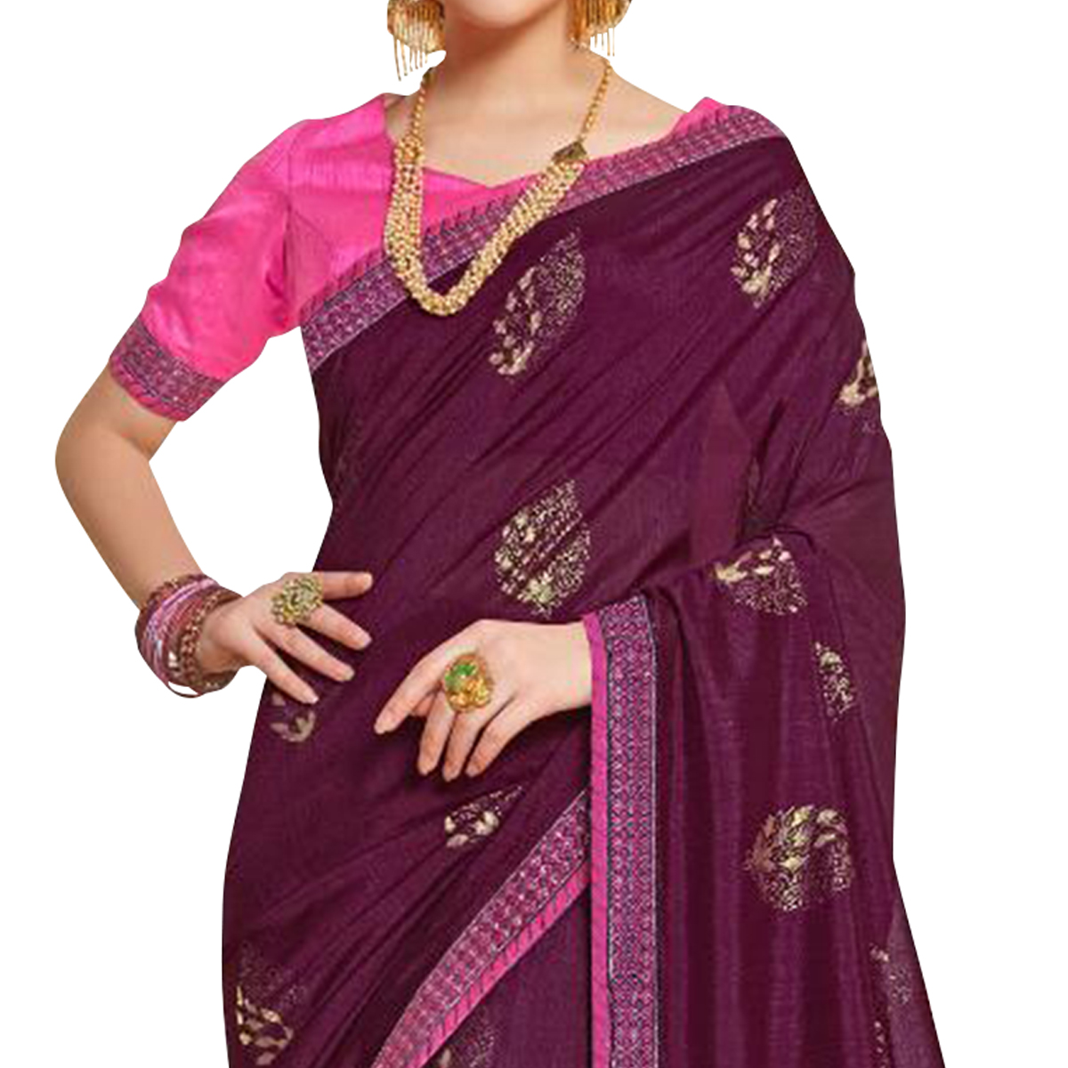 Glowing Purple Colored Partywear Embroidered Art Silk Saree