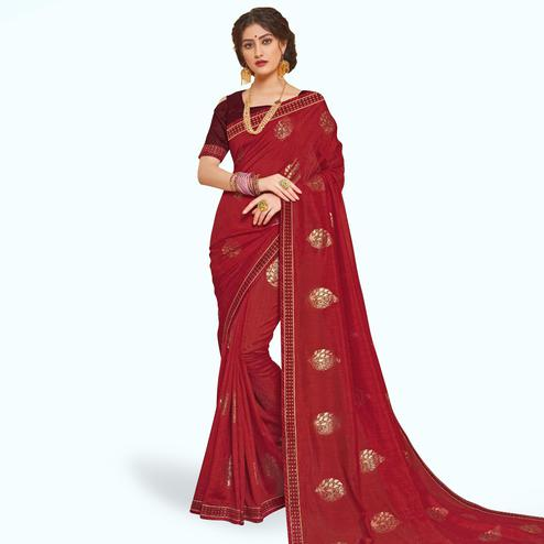 Exceptional Red Colored Partywear Embroidered Art Silk Saree