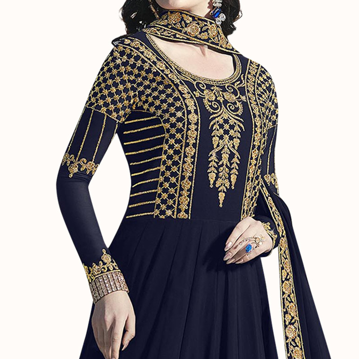 Delightful Navy Blue Colored Partywear Embroidered Abaya Style Georgette Anarkali Suit