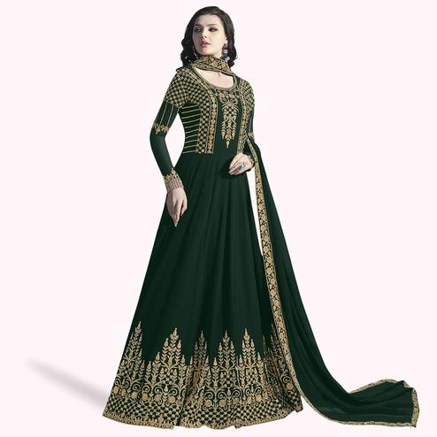 Engrossing Dark Green Colored Partywear Embroidered Abaya Style Georgette Anarkali Suit