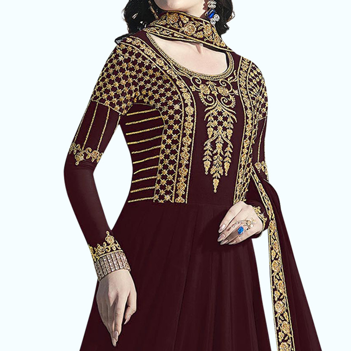 Captivating Maroon Colored Partywear Embroidered Abaya Style Georgette Anarkali Suit