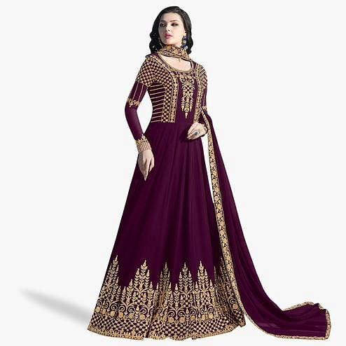 Innovative Purple Colored Partywear Embroidered Abaya Style Georgette Anarkali Suit