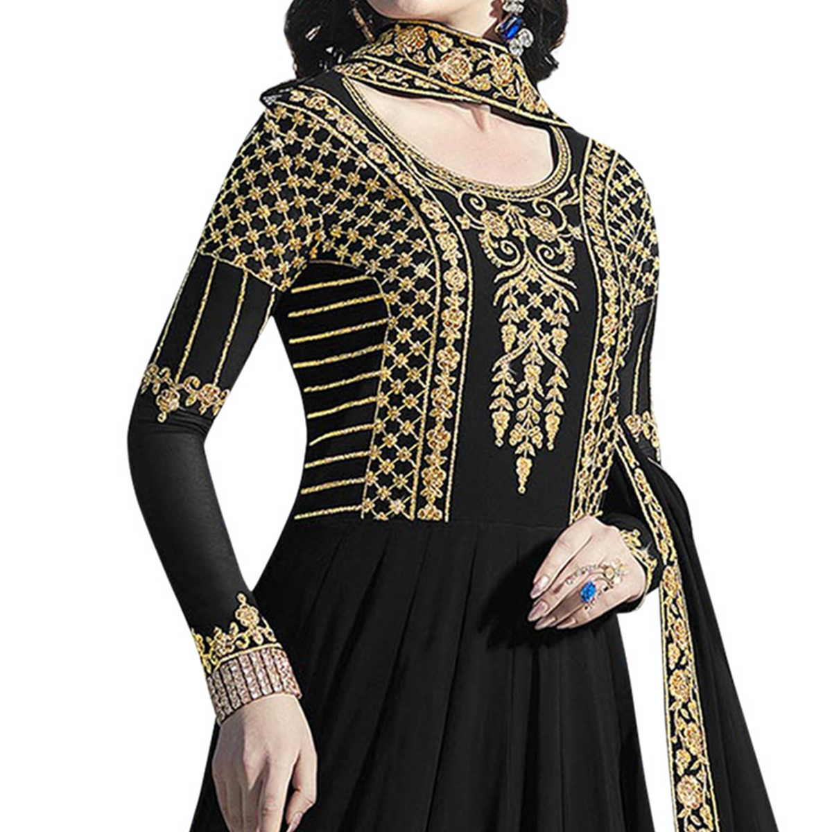 Fantastic Black Colored Partywear Embroidered Abaya Style Georgette Anarkali Suit