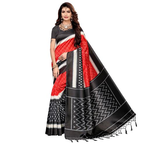 Adorable Red-Black Colored Festive Wear Printed Art Silk Saree
