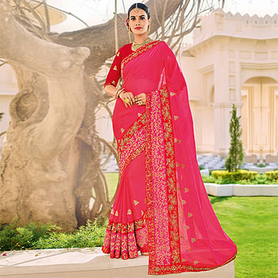Magenta Floral Embroidered Work Party Wear Chiffon Saree