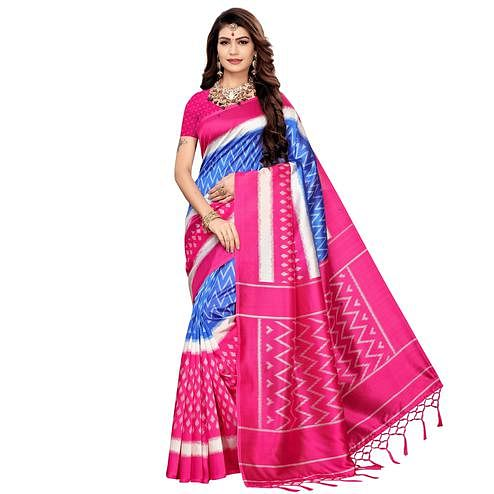 Attractive Blue-Pink Colored Festive Wear Printed Art Silk Saree