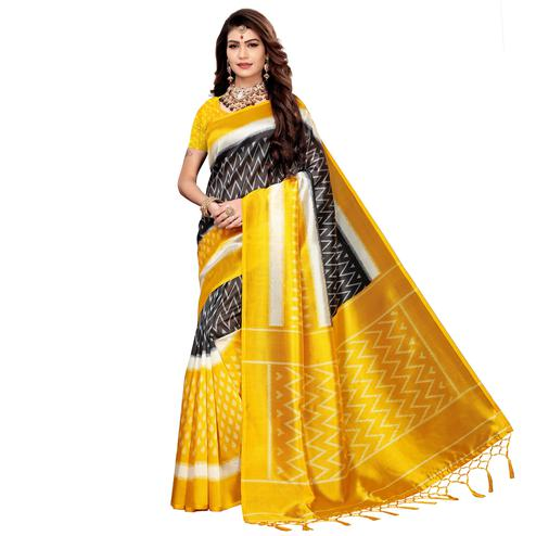 Beautiful Black-Yellow Colored Festive Wear Printed Art Silk Saree