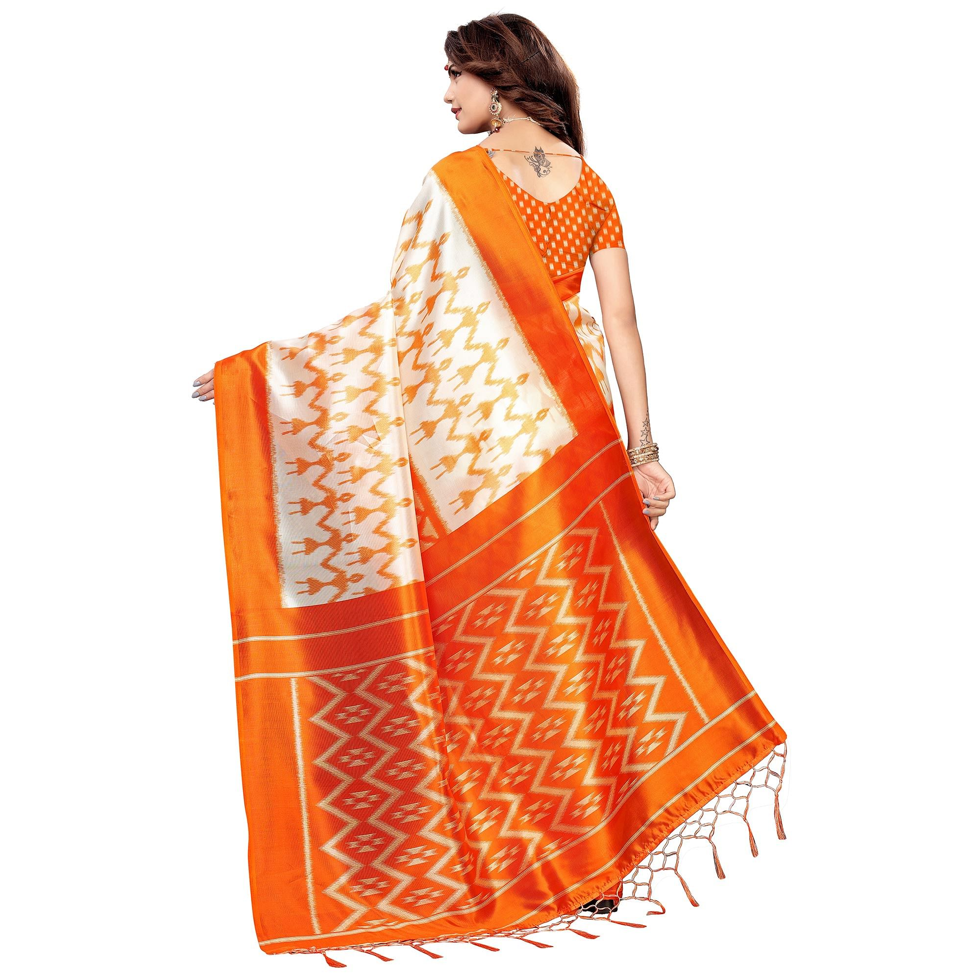 Graceful White-Orange Colored Festive Wear Printed Art Silk Saree