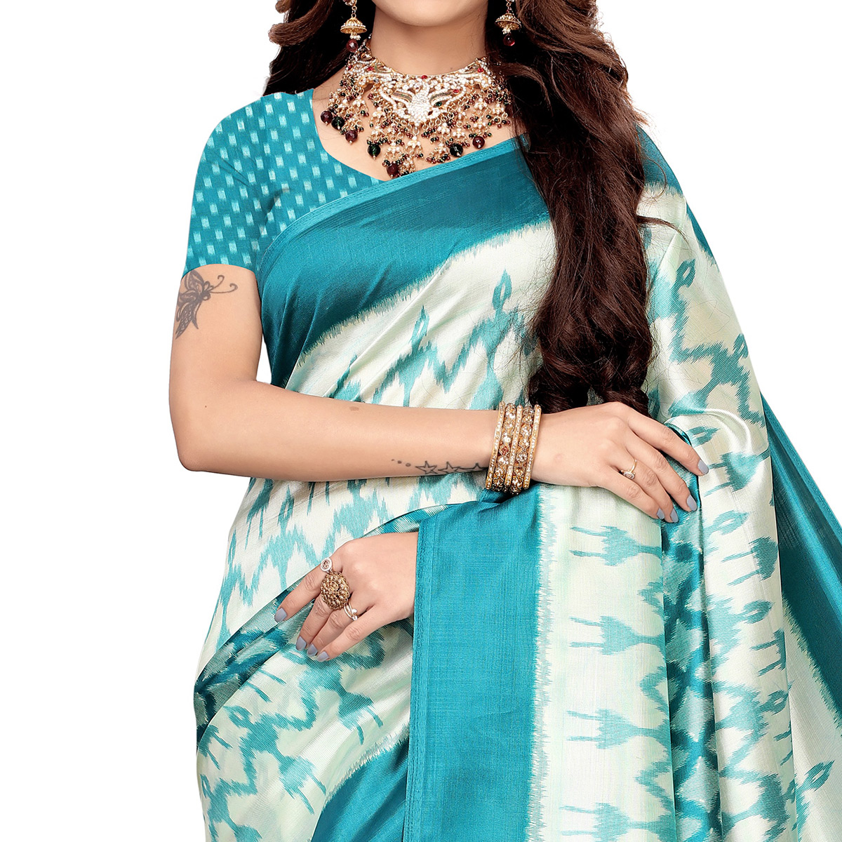 Charming White-Rama Blue Colored Festive Wear Printed Art Silk Saree