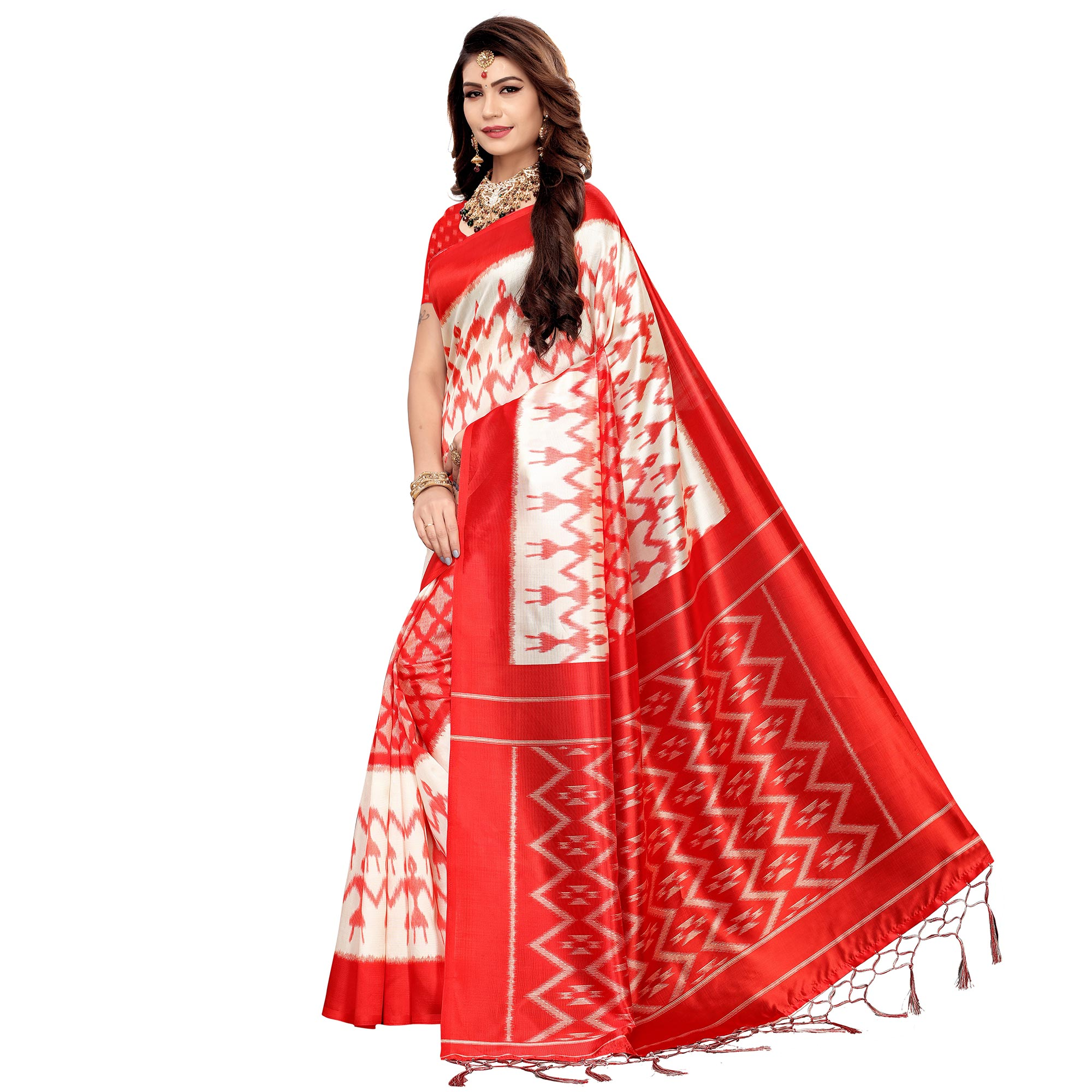 Jazzy White-Red Colored Festive Wear Printed Art Silk Saree