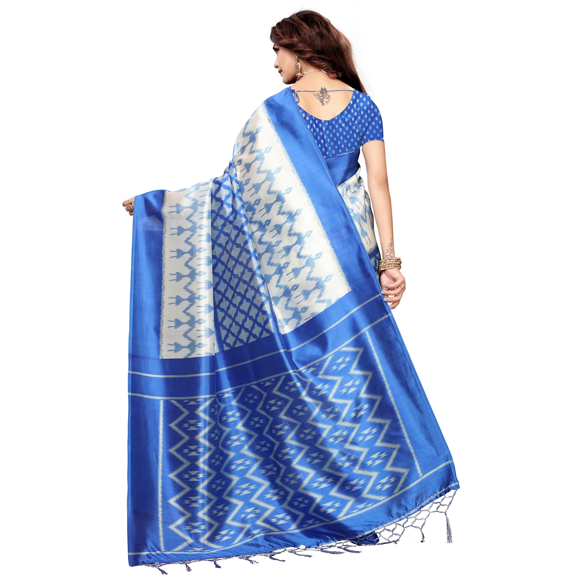Delightful White-Blue Colored Festive Wear Printed Art Silk Saree