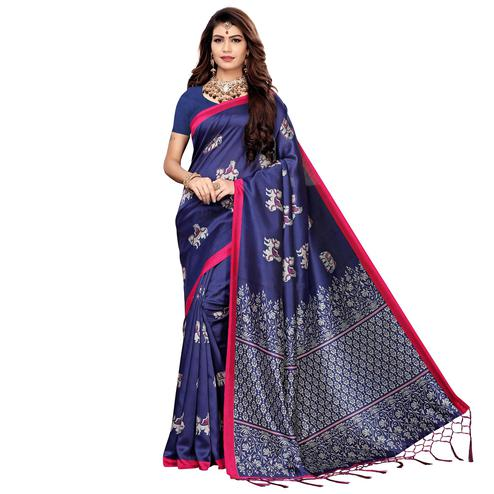Captivating Navy Blue Colored Festive Wear Printed Art Silk Saree