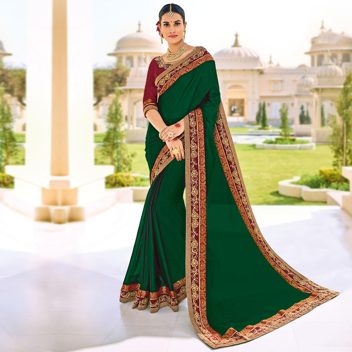Dark Green Floral Border Work Party Wear Chiffon Saree