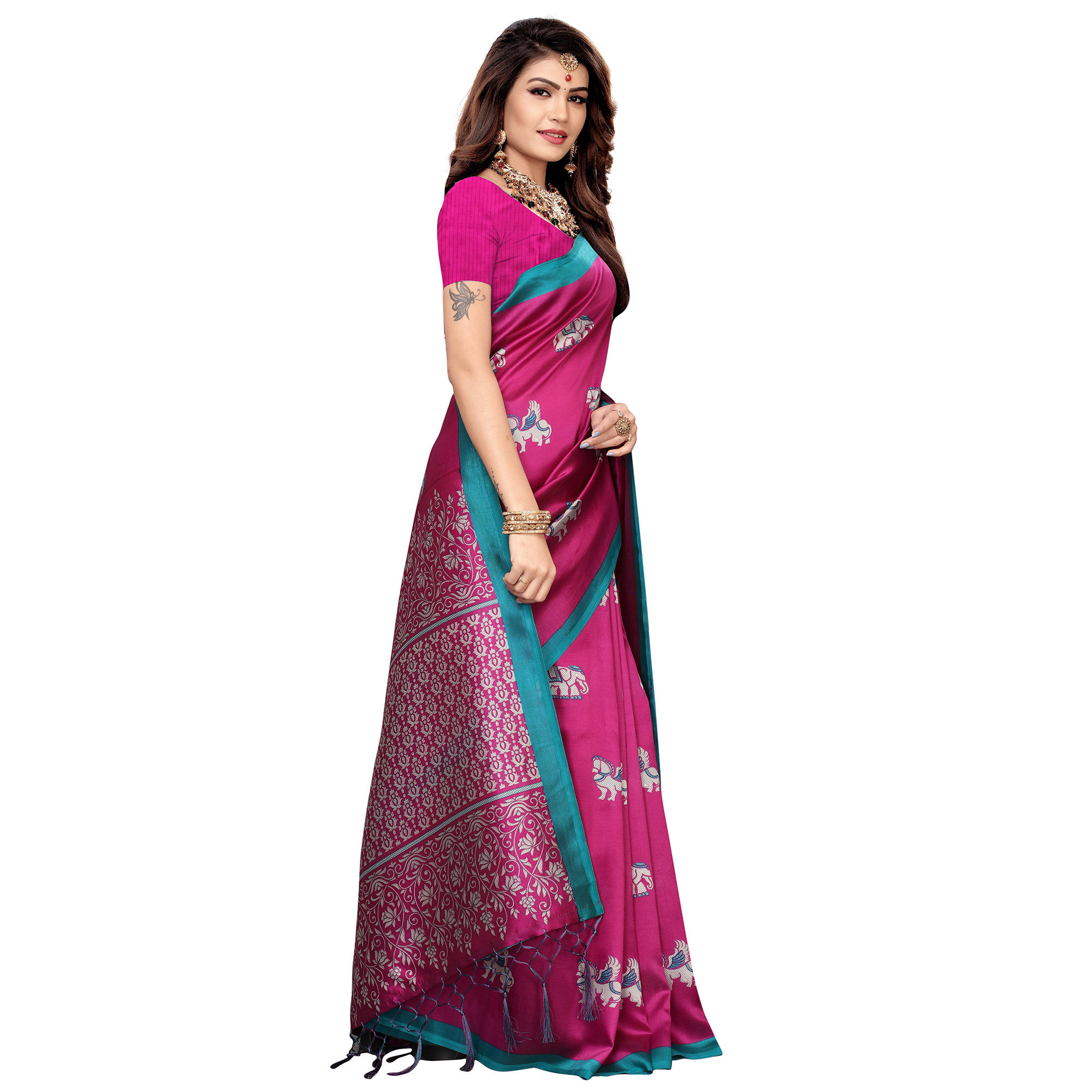 Innovative Pink Colored Festive Wear Printed Art Silk Saree