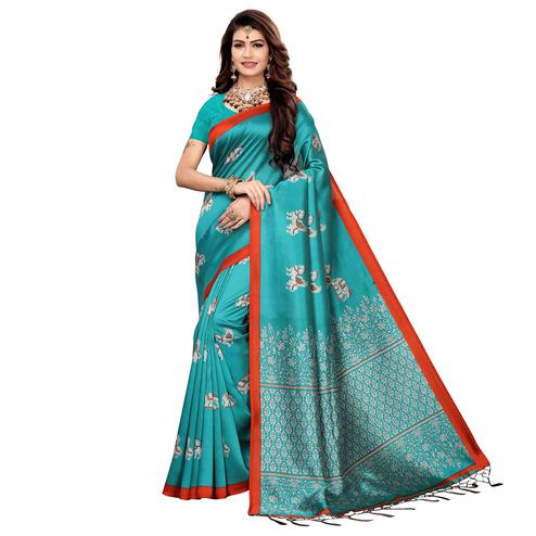 Eye-catching Rama Blue Colored Festive Wear Printed Art Silk Saree