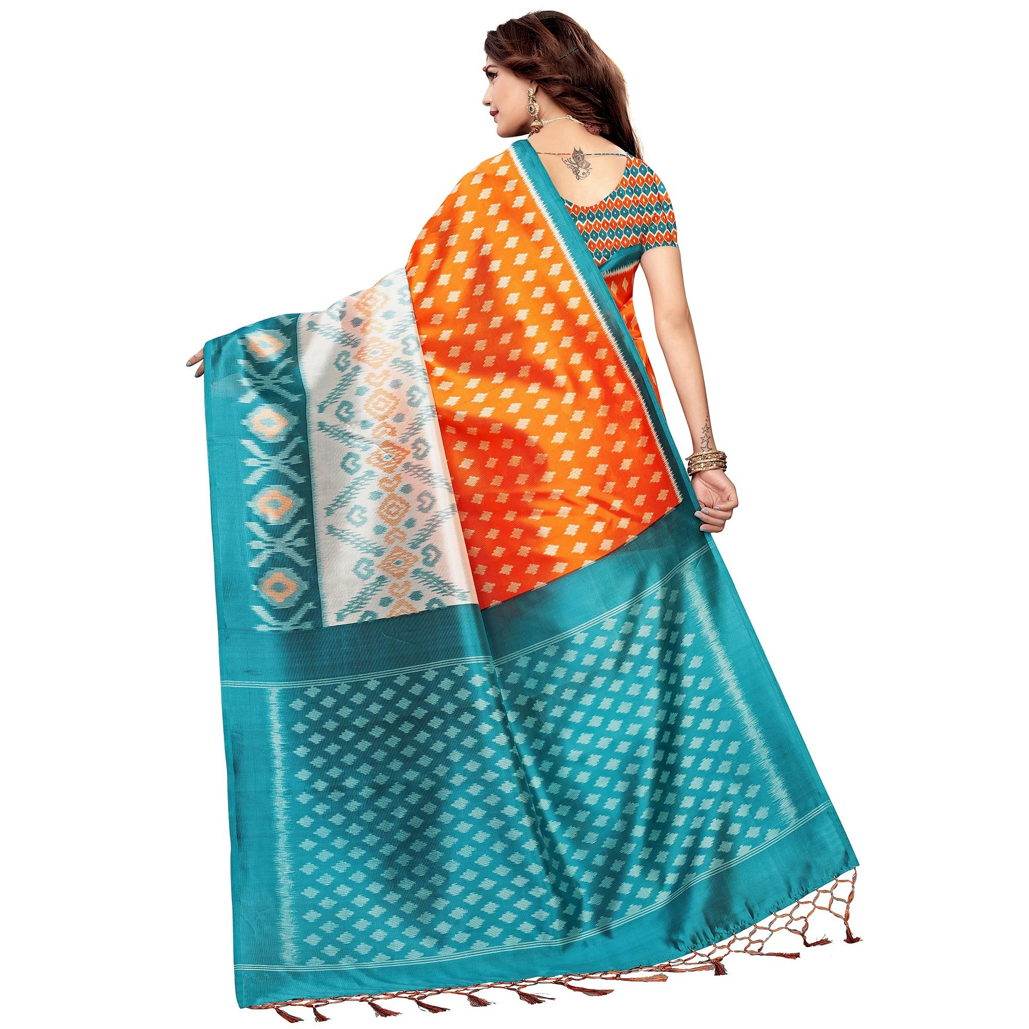 Fantastic Orange Colored Festive Wear Printed Art Silk Saree