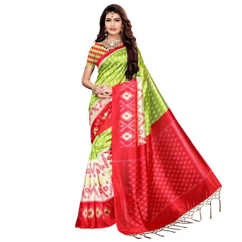 Amazing Green Colored Festive Wear Printed Art Silk Saree