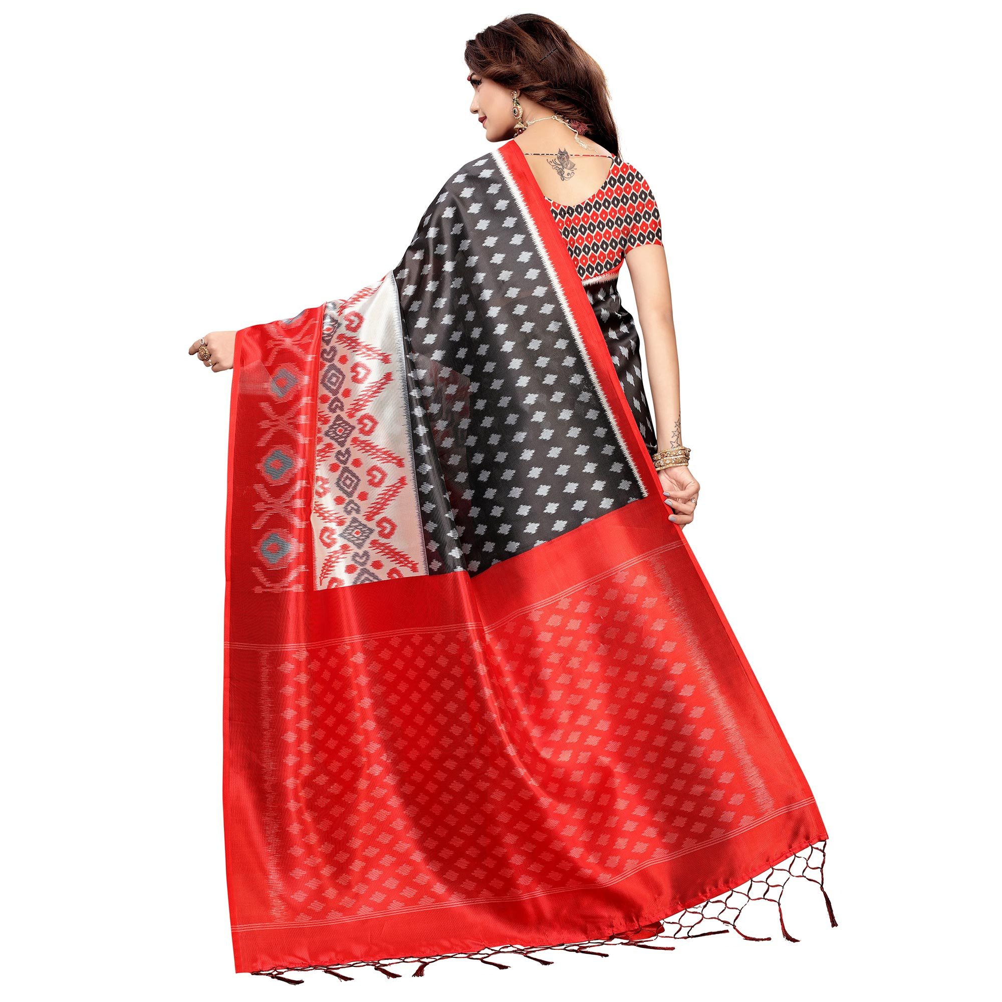 Gorgeous Black Colored Festive Wear Printed Art Silk Saree