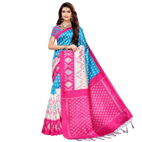 Blissful Sky Blue Colored Festive Wear Printed Art Silk Saree