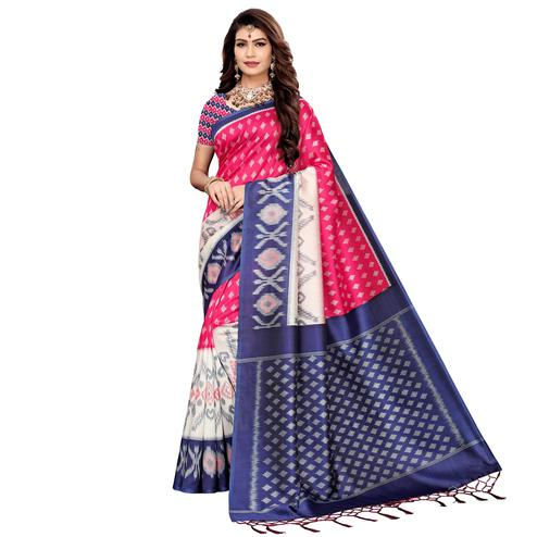 Imposing Pink Colored Festive Wear Printed Art Silk Saree