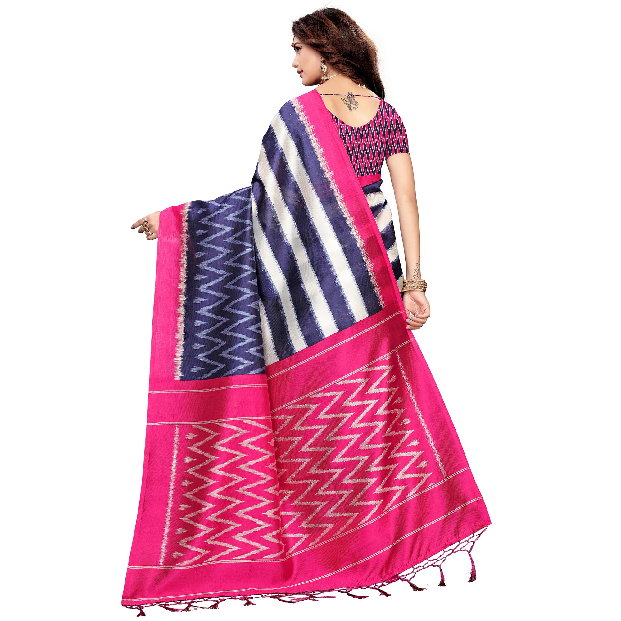 Lovely Navy Blue-Pink Colored Festive Wear Printed Art Silk Saree