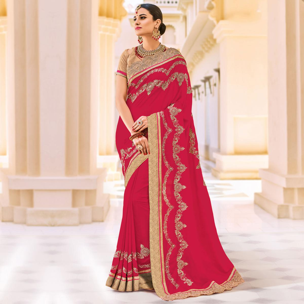 Magenta Floral Embroidered Work Party Wear Silk Saree