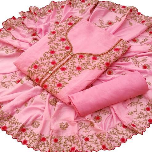 Charming Pink Colored Partywear Embroidered Chanderi Silk Dress Material
