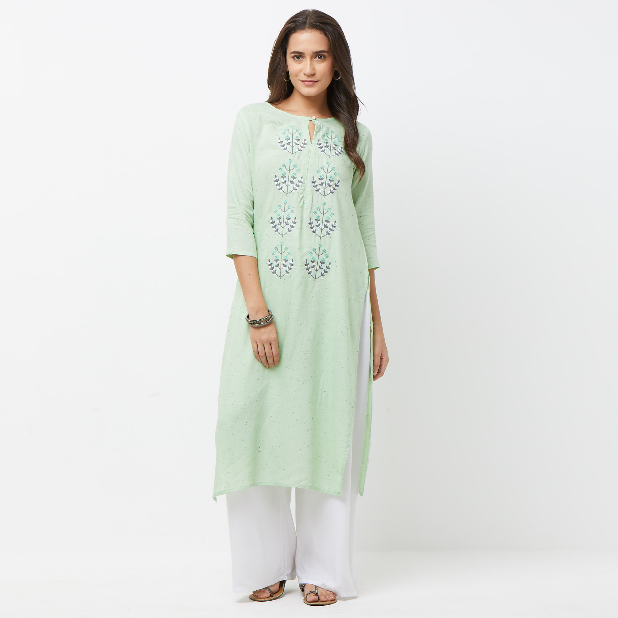 Engrossing Aqua Green Colored Partywear Embroidered Cotton Long Kurti