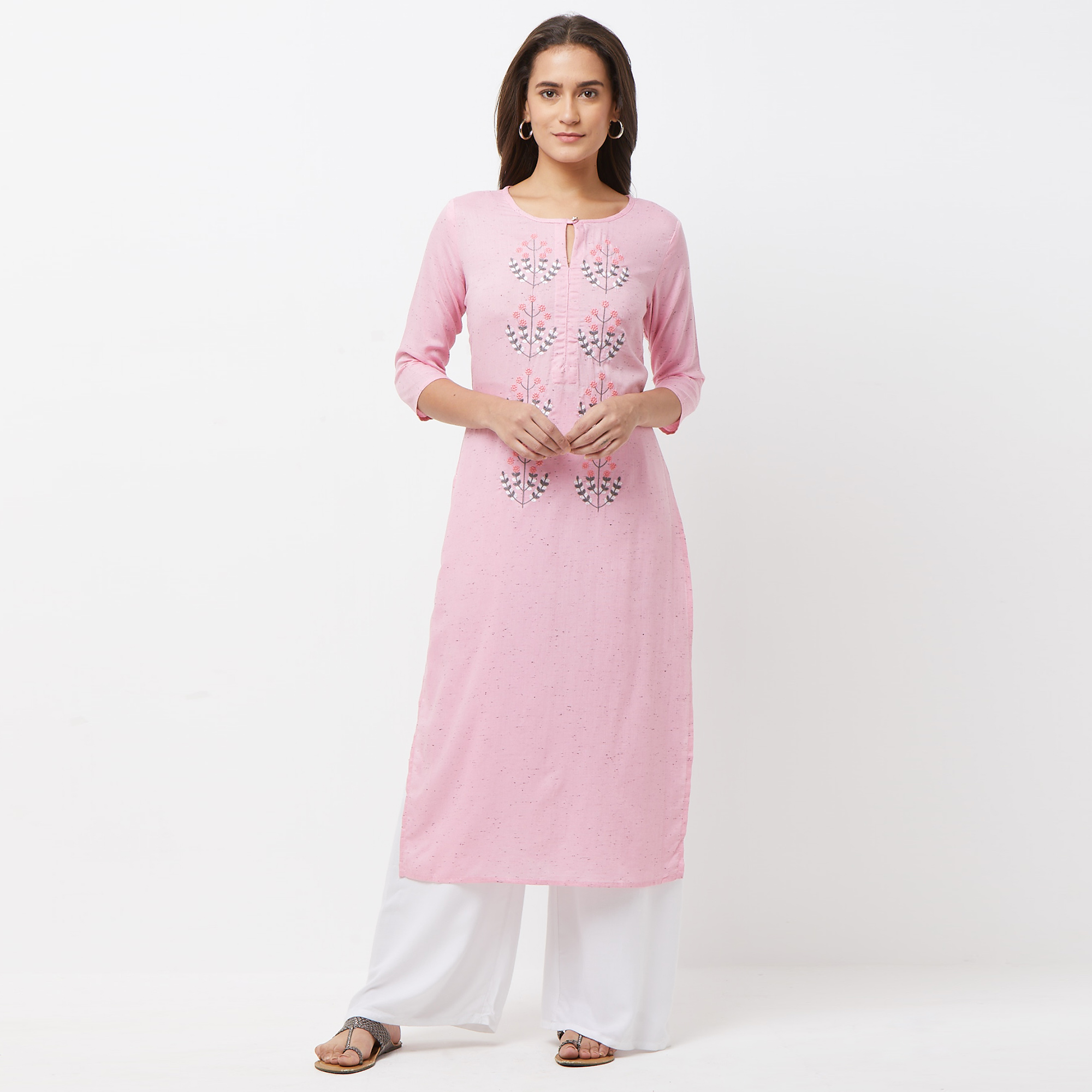 Captivating Pink Colored Partywear Embroidered Cotton Long Kurti