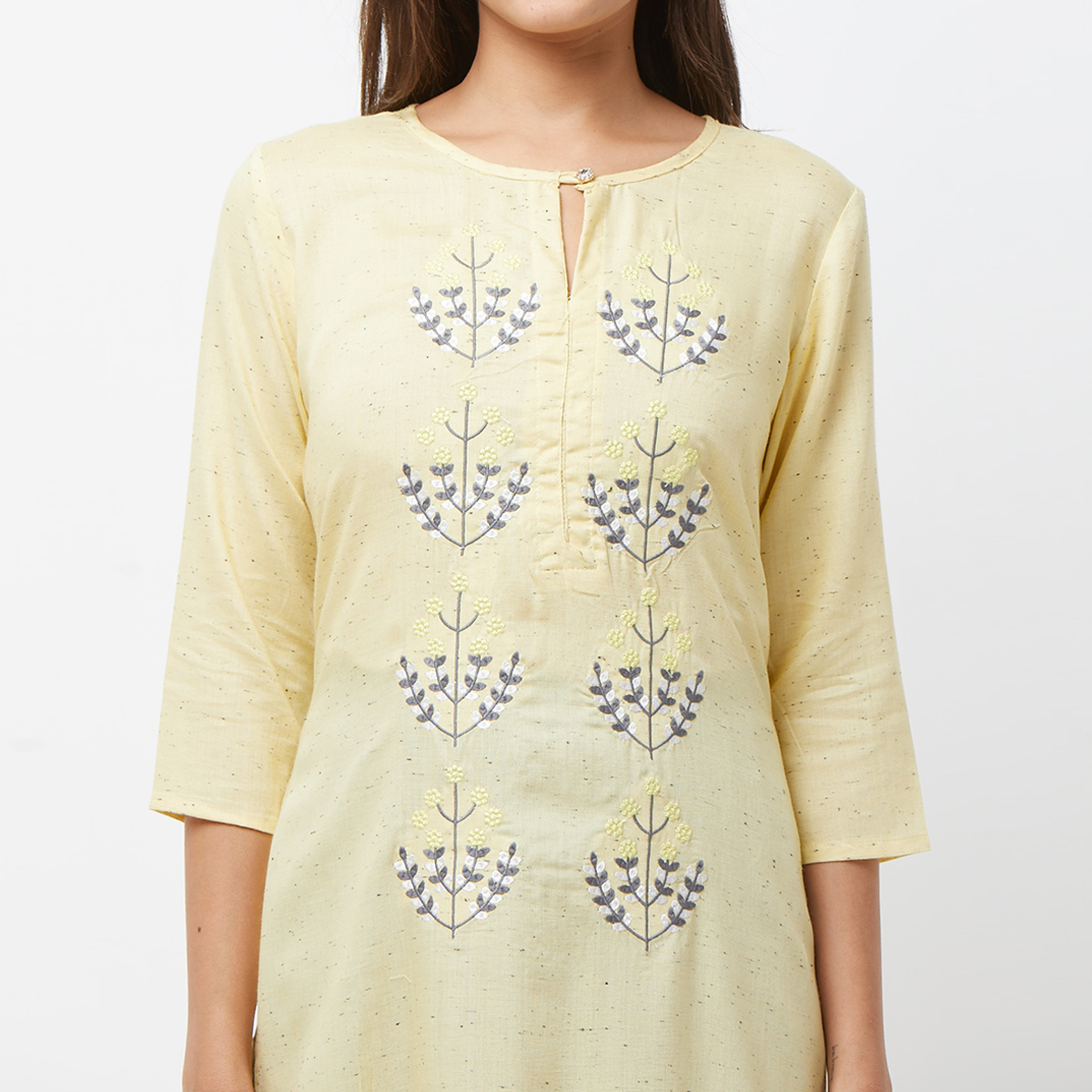Innovative Yellow Colored Partywear Embroidered Cotton Long Kurti