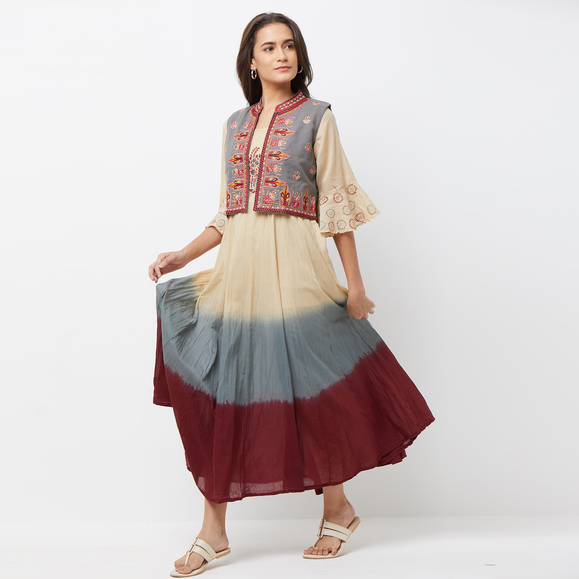 Eye-catching Gray-Maroon Colored Partywear Embroidered Long Kurti With Koti