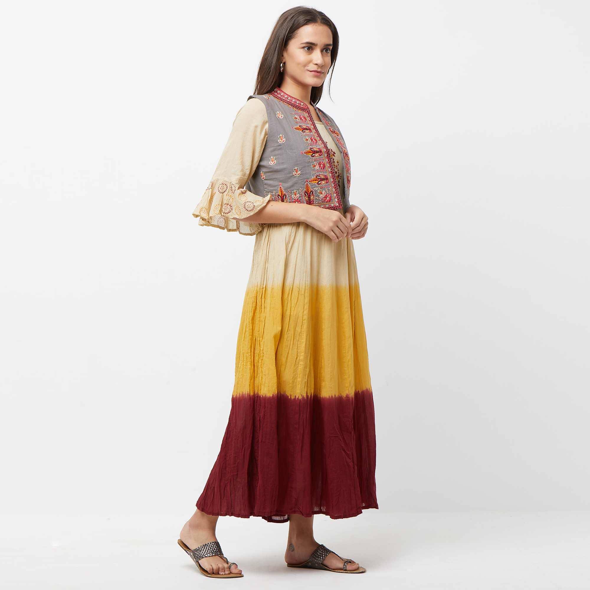 Gleaming Yellow-Maroon Colored Partywear Embroidered Long Kurti With Koti