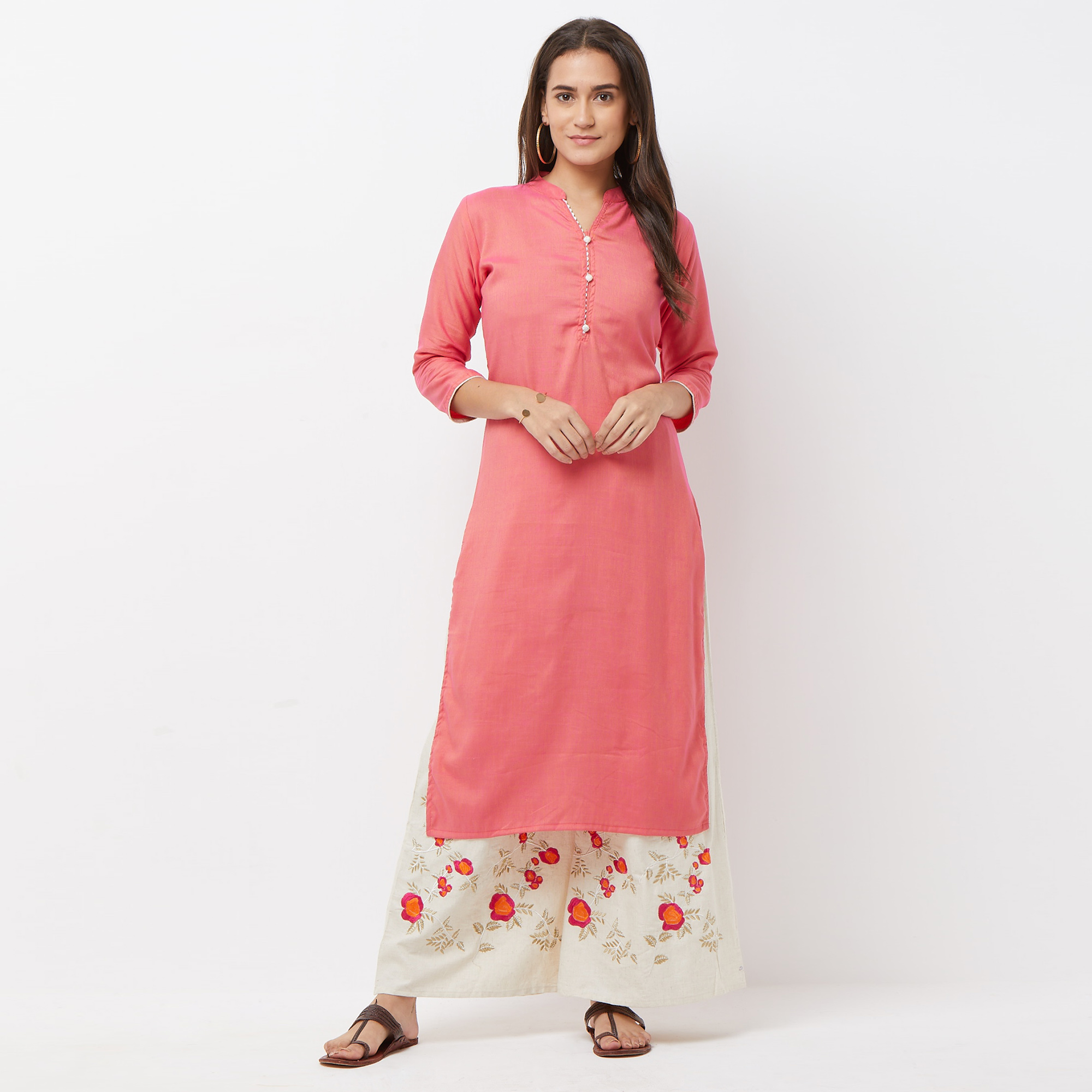 Mesmeric Pink Colored Partywear Cotton Palazzo Suit