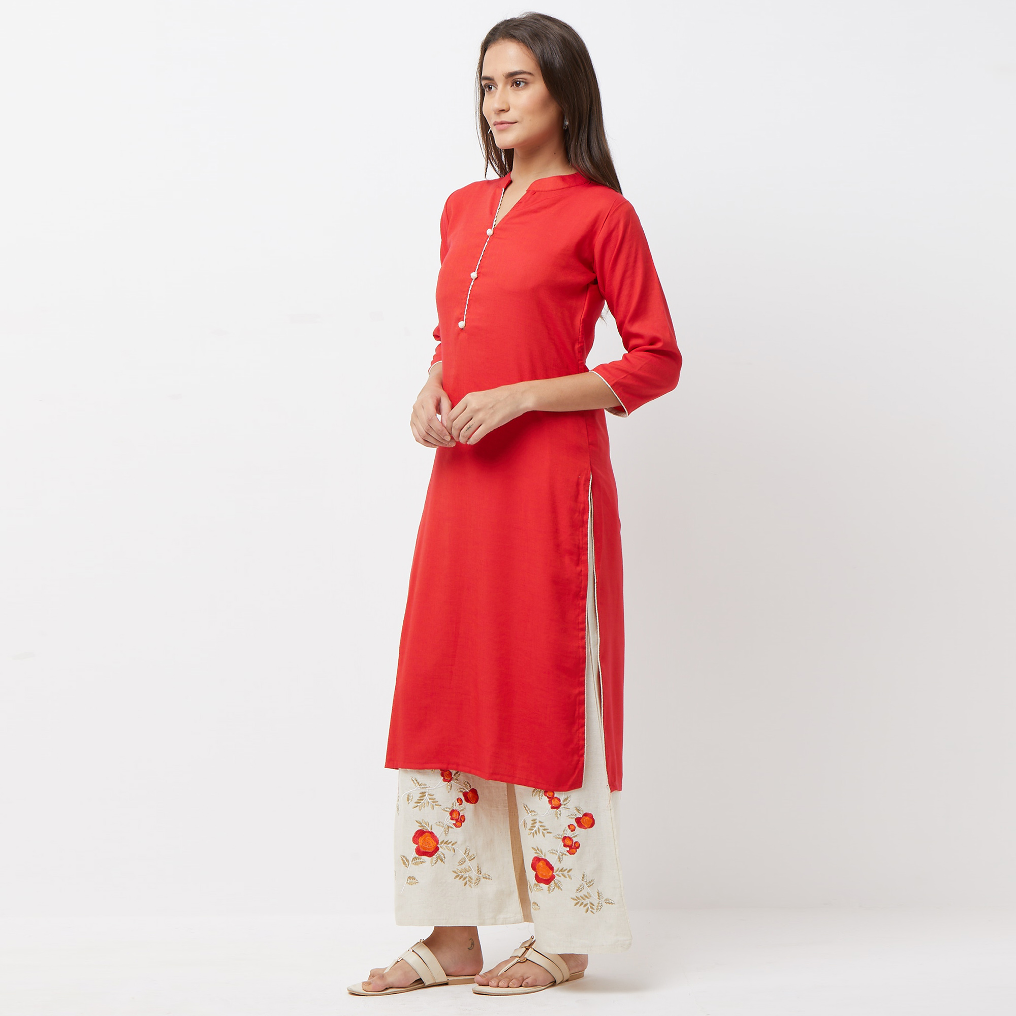 Unique Red Colored Partywear Cotton Palazzo Suit