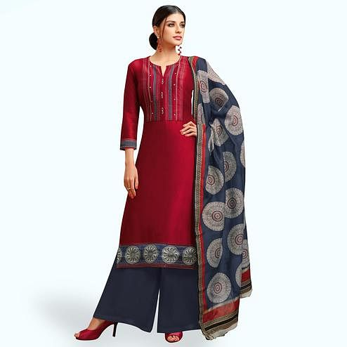 Jazzy Scarlet Red Colored Party Wear Printed Chanderi Silk Palazzo Suit