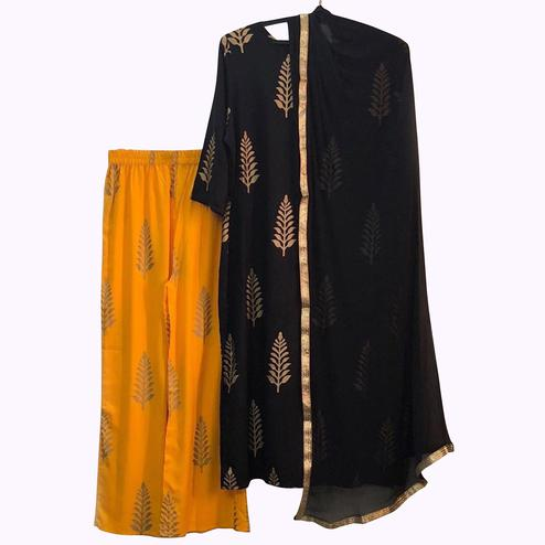 Blooming Black-Yellow Colored Partywear Printed Rayon Palazzo Suit