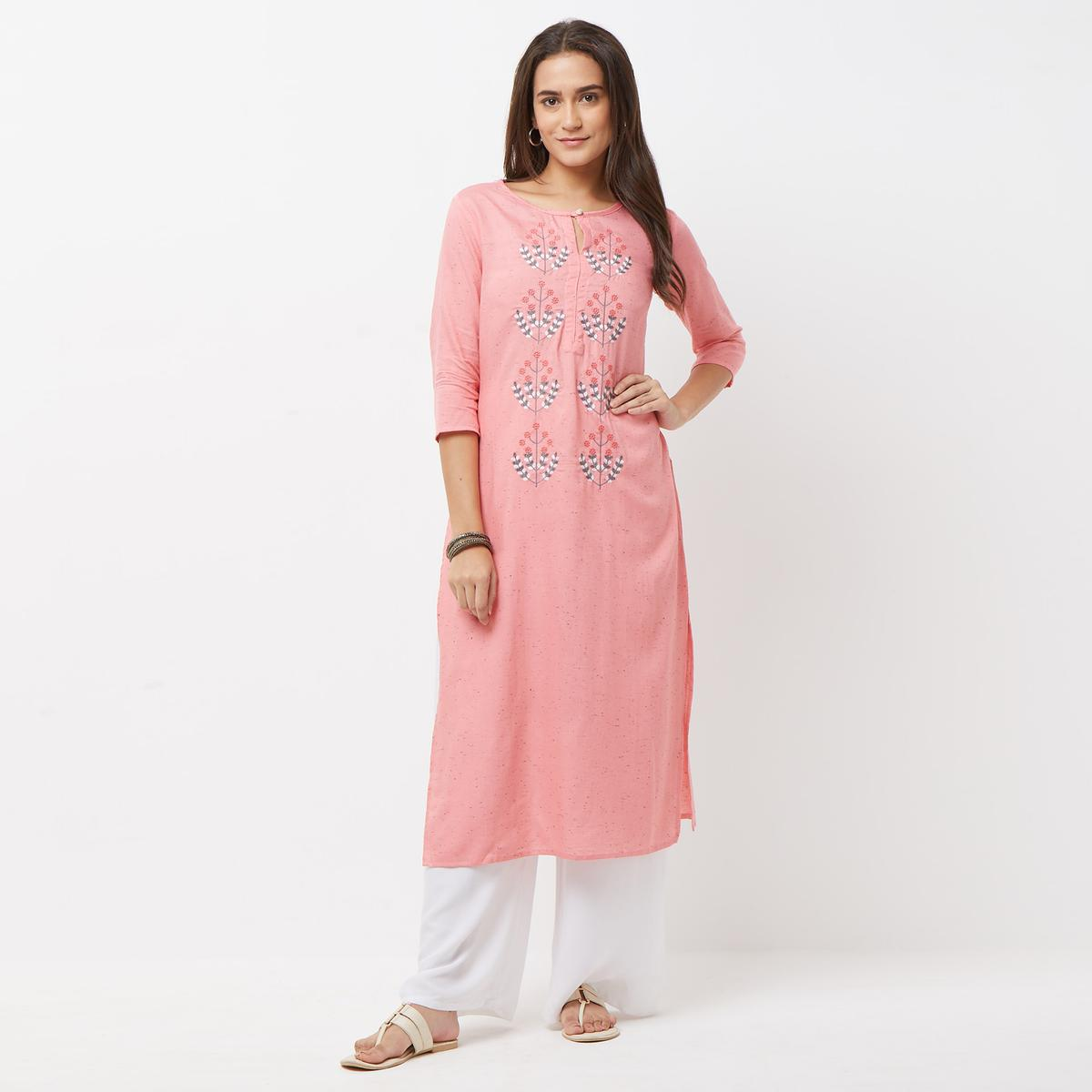 Classy Peach Colored Partywear Embroidered Cotton Long Kurti