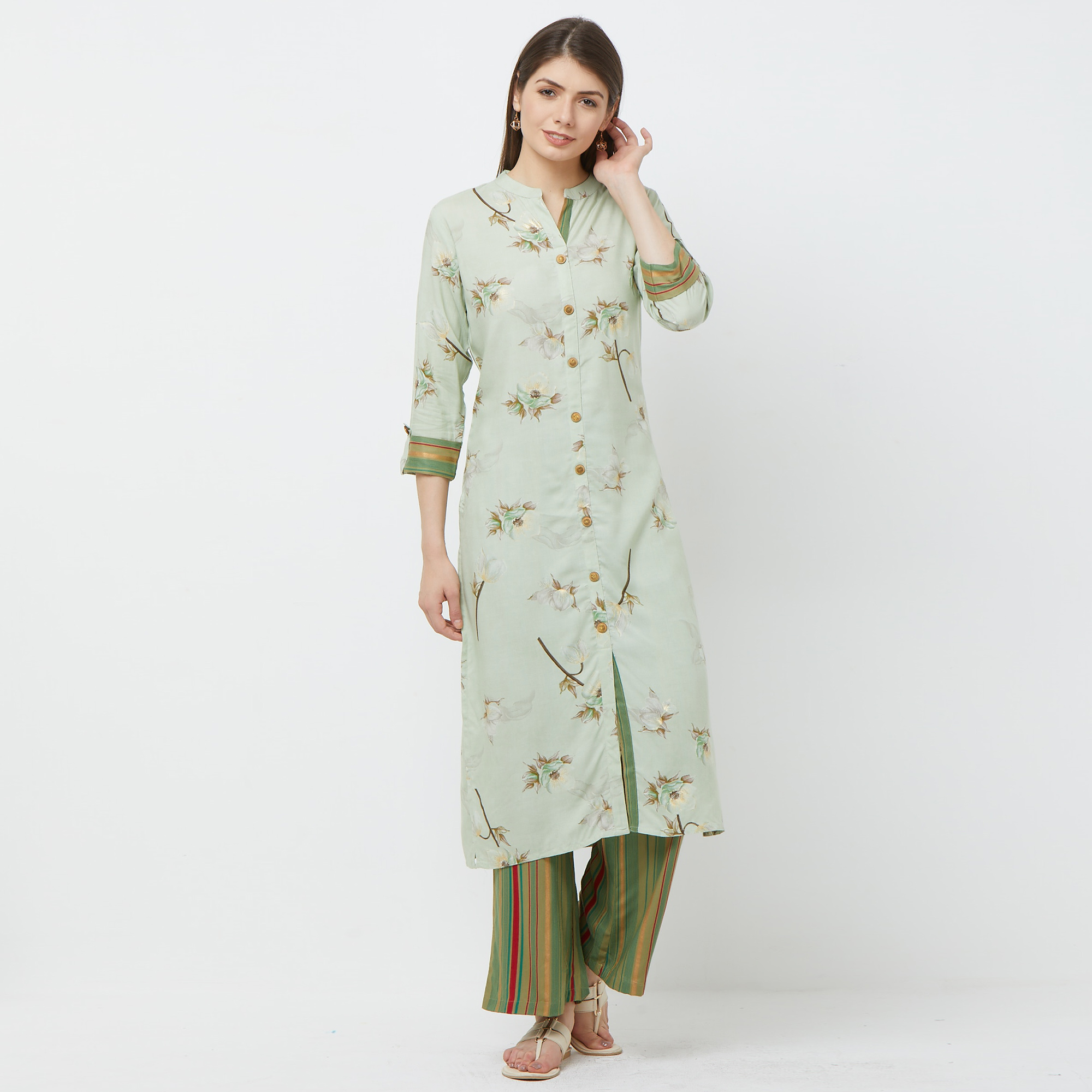 Intricate Mint Green Colored Casual Floral Printed Cotton Kurti-Palazzo Set