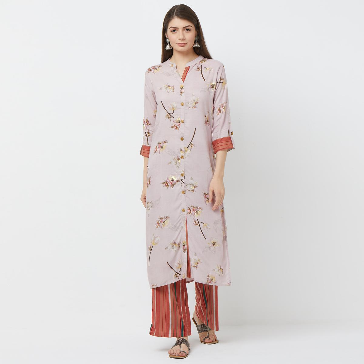 Arresting Light Wine Colored Casual Floral Printed Cotton Kurti-Palazzo Set