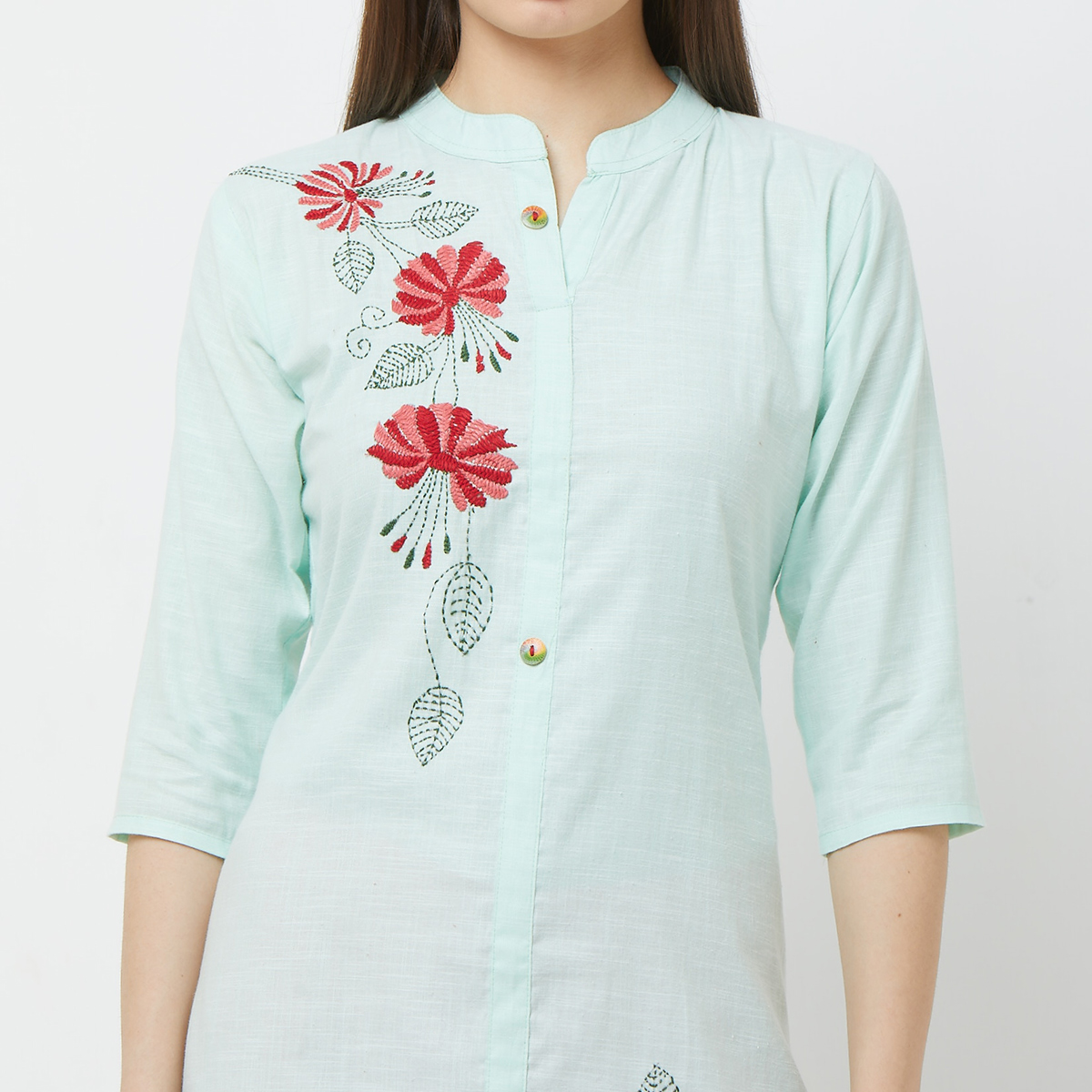 Sophisticated Aqua Green Colored Casual Floral Embroidered Cotton Kurti