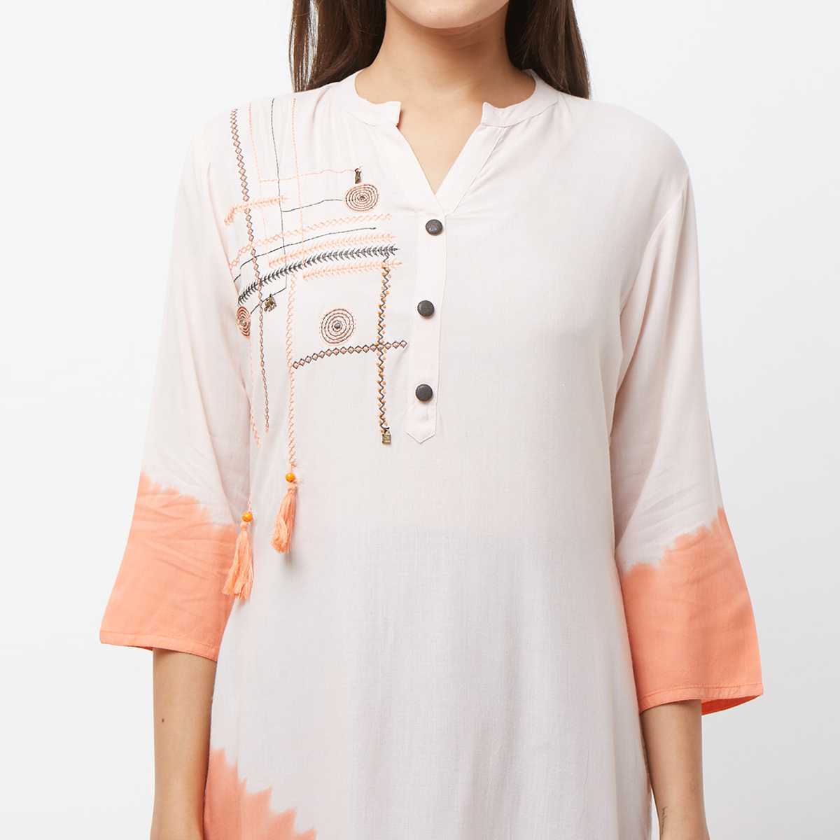 Elegant Peach Colored Casual Embroidered Cotton Kurti