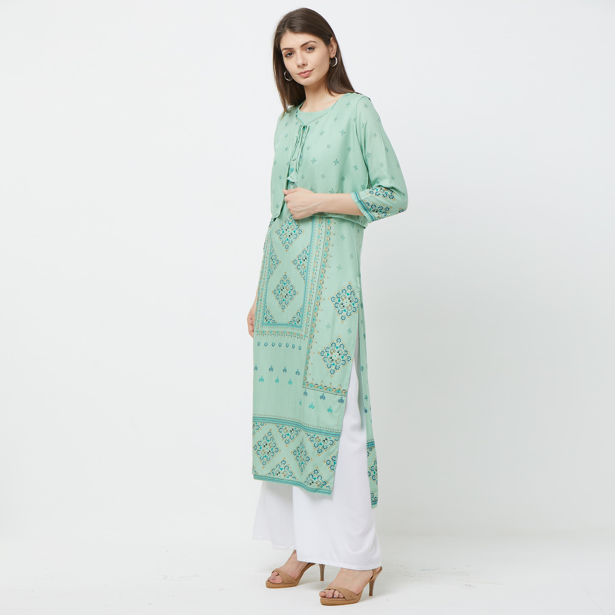 Pleasant Green Colored Partywear Printed Cotton Kurti With Koti