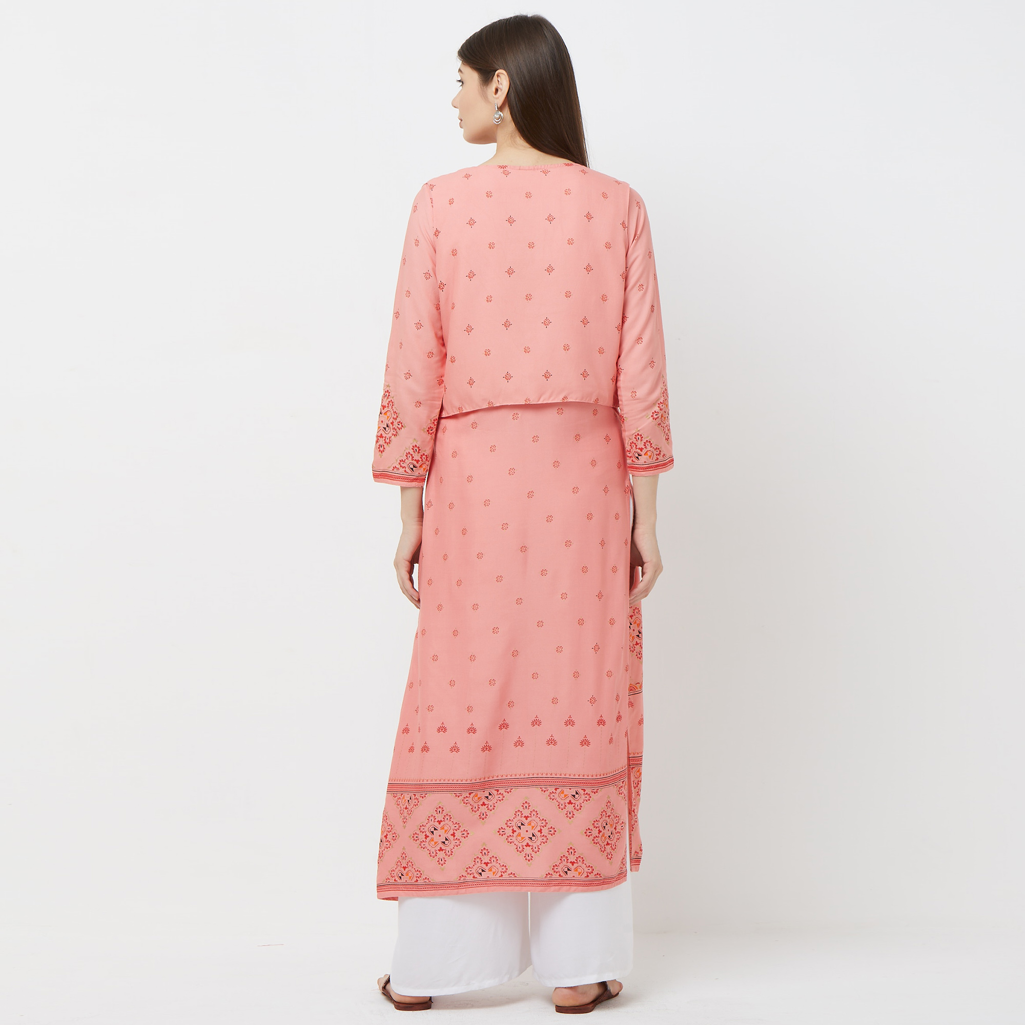 Opulent Peach Colored Partywear Printed Cotton Kurti With Koti