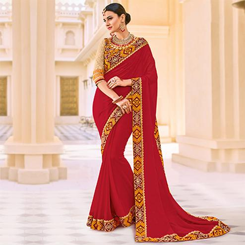 Maroon Border Embroidered Work Party Wear Georgette Saree